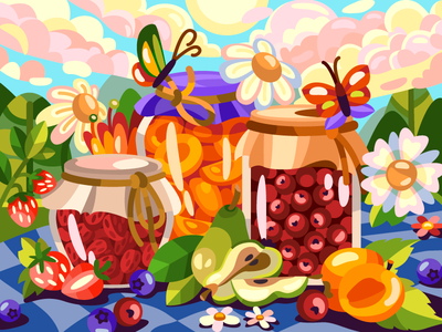 Marmalade jars coloringbook peach pear strawberry flower marmalade drawing flat art draw cartoon illustration cartoon artwork artist illustration design