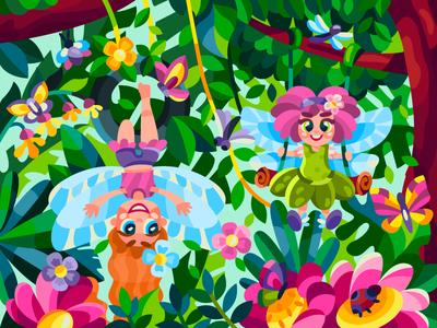Small swings fairy fairies drawing flat art draw cartoon illustration cartoon artwork artist illustration design
