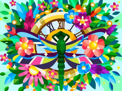 Big dragonfly dragonfly clock flower flat coloringbook drawing coloring book cartoon illustration cartoon artwork artist illustration design