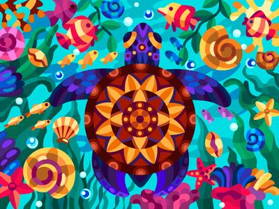 Patterned turtle 2 turtle sea turtle art digital coloringbook drawing coloring book cartoon illustration cartoon artwork artist illustration design
