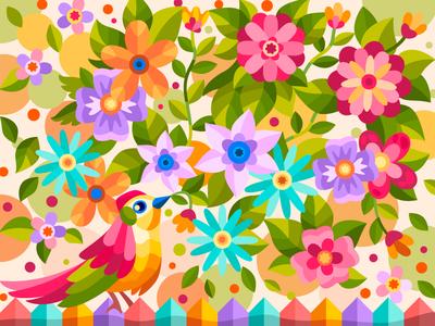 Bird and flowers coloringbook bird draw art flat cartoon drawing cartoon illustration artwork digital design
