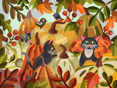 Cats and pumpkins pumpkin cat cats digitalart digital vector coloringbook drawing art artist artwork illustration cartoon illustration cartoon design