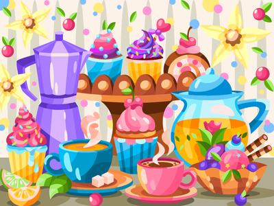 Tea and coffee coffeeshop tea cakes cake coloringbook draw flat drawing art artwork artist illustration cartoon illustration cartoon design