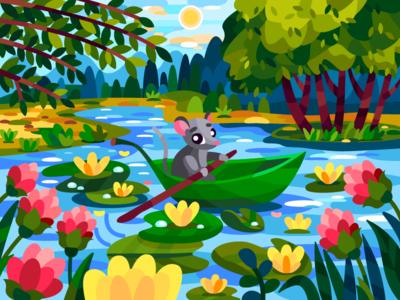 Leaf boat summer flover mouse digitalart digital coloringbook flat drawing art artwork artist illustration cartoon illustration cartoon design