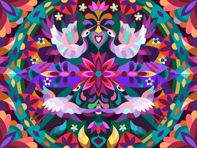 Birds in flowers digitalart bird coloringbook digital artwork artist illustration cartoon illustration cartoon design