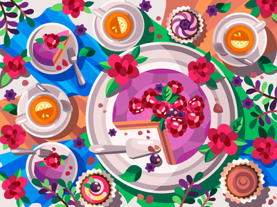 Raspberry tea party tea cupcake cake digitalart digital flat art artist artwork drawing branding illustration cartoon illustration cartoon design