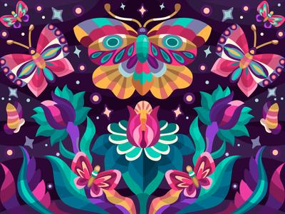 Natural symmetry flower butterfly vector art ve drawing digitalart digital flat coloringbook draw illustration cartoon illustration cartoon design