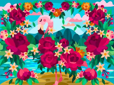 Blooming flamingo digital coloringbook draw flat art artwork cartoon illustration cartoon drawing design