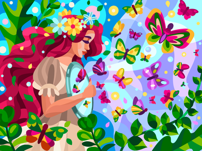 Butterfly heart butterflies vector art art woman flower digital digitalart coloringbook draw artwork vector branding cartoon illustration cartoon design