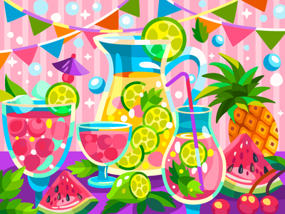 Watermelon and lime lime pinapple watermelon coctail art illustration coloringbook draw flat digital artist artwork cartoon illustration cartoon design