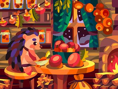 Hedgehog kitchen autumn hedgehog digital vector illustration vectorart vector digitalart coloringbook flat art artist illustration cartoon illustration cartoon design