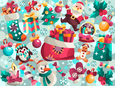 Presents collection santa new year merry christmas vectorart vector digital painting digital art digitalart digital coloringbook flat drawing artist art artwork illustration cartoon illustration cartoon