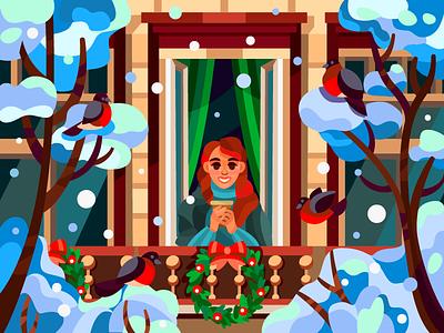 Winter window vectorart vector illustration vector art vector vectors girl winter new year digitalart digital coloringbook flat drawing artist art artwork illustration cartoon illustration design cartoon