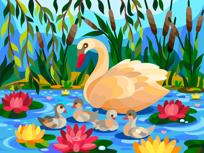 Swan and nenuphar vectorart vector swan digital art digitalart digital coloringbook flat drawing artist art artwork illustration cartoon illustration design cartoon