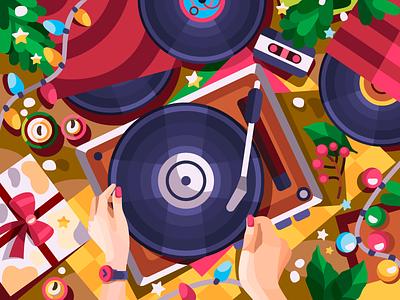 Old vinyl records holyday holiday vinyl digital art digitalart digital vector illustration vectorart vector color coloringbook flat drawing artist art artwork illustration cartoon illustration design cartoon