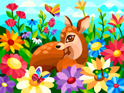 Fawn among flowers spring flower fawn vector illustration vectorart vector digitalart digital coloringbook flat drawing artist art artwork illustration cartoon illustration design cartoon