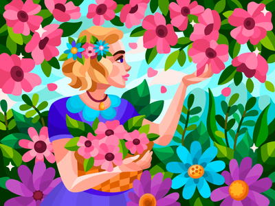 Spring mood vector woman girl yang flower flowers painting digital illustration digitalart digital coloringbook flat drawing artist art artwork illustration cartoon illustration design cartoon