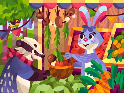 Rabbit shop flat design illustrator draw flat coloringbook cartoon illustration cartoon animals vector illustration vectorart vector digital illustration digital painting digitalart digital artist artwork art