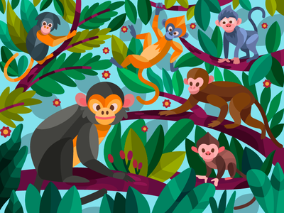 Nimble monkeys illustrator color monkey vector illustration vector art vector digital art ui design drawing coloringbook cartoon illustration cartoon digital illustration digital painting digital flat artist artwork art