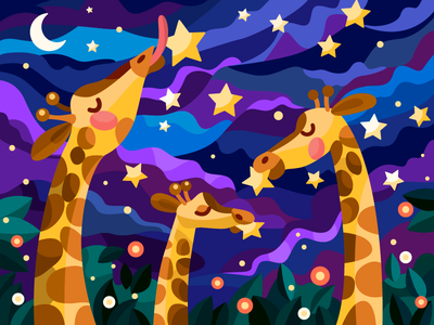 Giraffes and stars night giraffe decor ui vector art vector illustration vector digital illustration digital painting digitalart digital coloringbook design cartoon cartoon illustration illustration flat artist artwork art