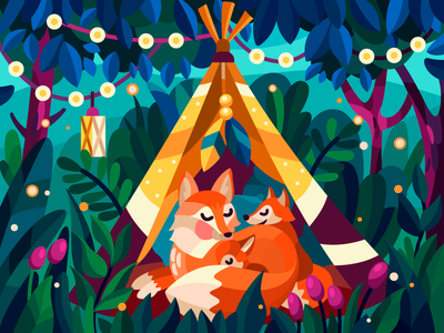 Wigwam foxes family fox vector illustration vector art vector digital illustration digitalart coloringbook color digital design flat cartoon ui illustrator cartoon illustration illustration artist artwork art