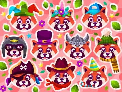 Red pandas collection sticker red panda illustrator ui coloringbook color digital illustration digital painting digital art digital vectorart vector vector illustration illustration cartoon illustration cartoon flat artist artwork art