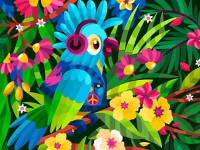 Jungle rock vectorillustration vectorart vector flat parrot cockatoo color digitralart digitalillustration digital coloringbook branding ui logo design artist art artwork cartoon illustration cartoon illustrator