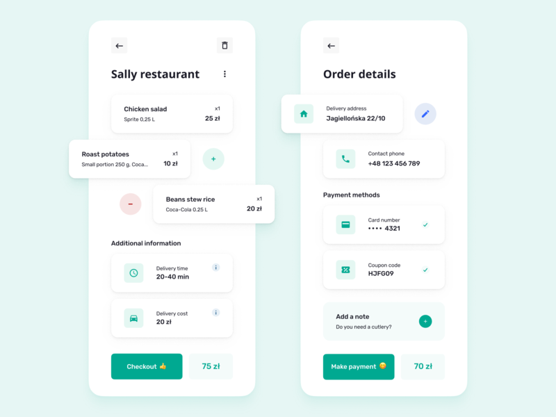 Food Delivery App - Order Screens restaurant payment mobile app service product checkout payment app order delivery clean ui ui ux flat food delivery food mobile ui figma minimal clean app