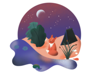 Gazing Fox (Paper Boat by Gal Shir Rebound) rebound procreate art procreate app procreateapp procreate moon stars sky camping tent nature fox sunset purple orange illustration web designer blue design