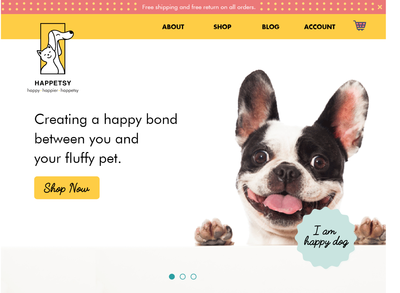 Landing page for Happetsy