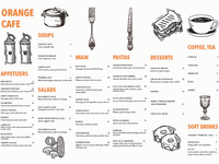Orange Cafe Menu design