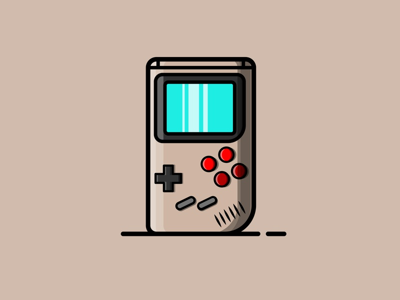 Game boy vector minimal illustration icon flat design