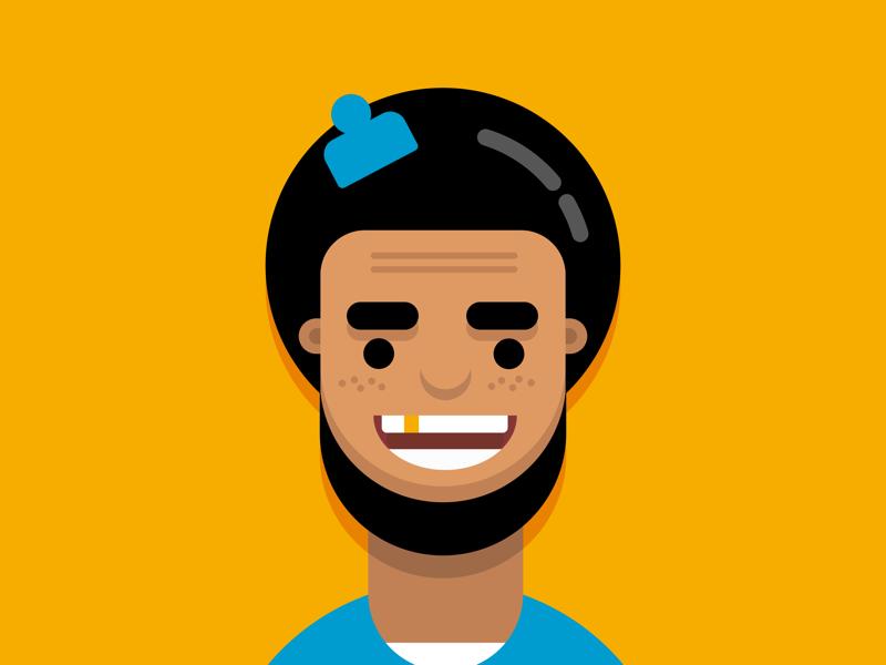 Afro boy illustration flat design