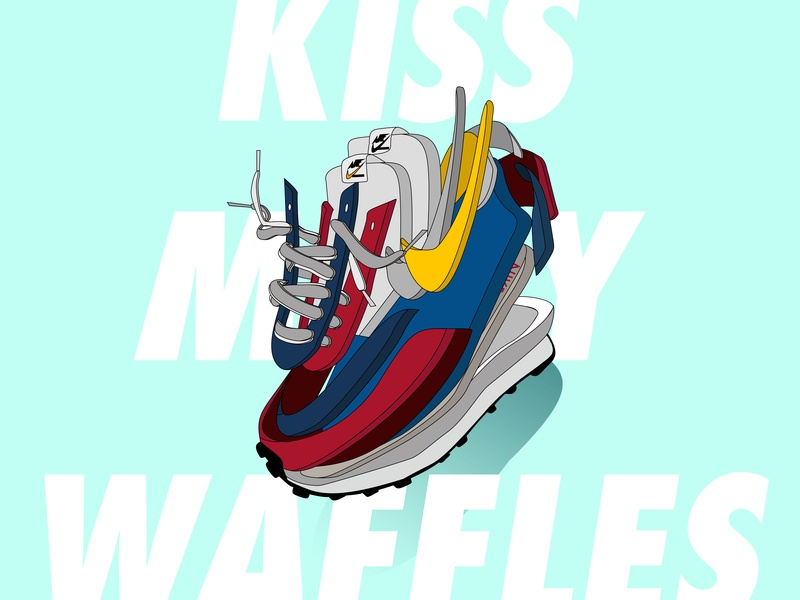 Nike x Sacai waffle sneaker sacai nike illustration flat design vector minimal illustration icon flat design