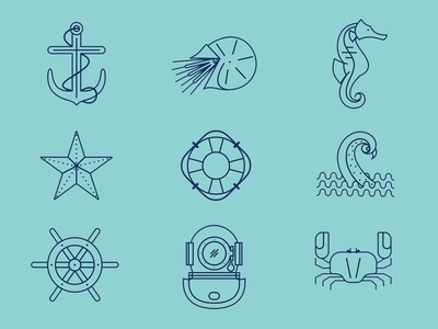 Sea Theme / Minimalistic Icon Set