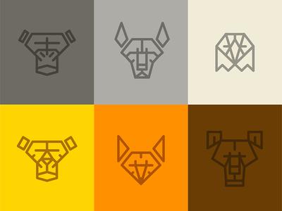 Animal Faces Marks / Icons Set