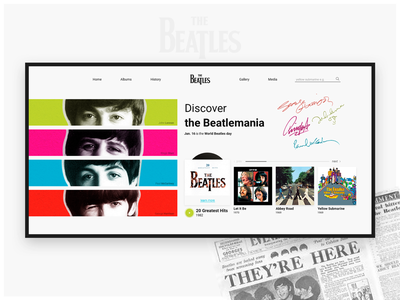 Discover the Beatles | Discography concept concept ui web web design music discography yellow submarine abbey road let it be british beatlemania the beatles