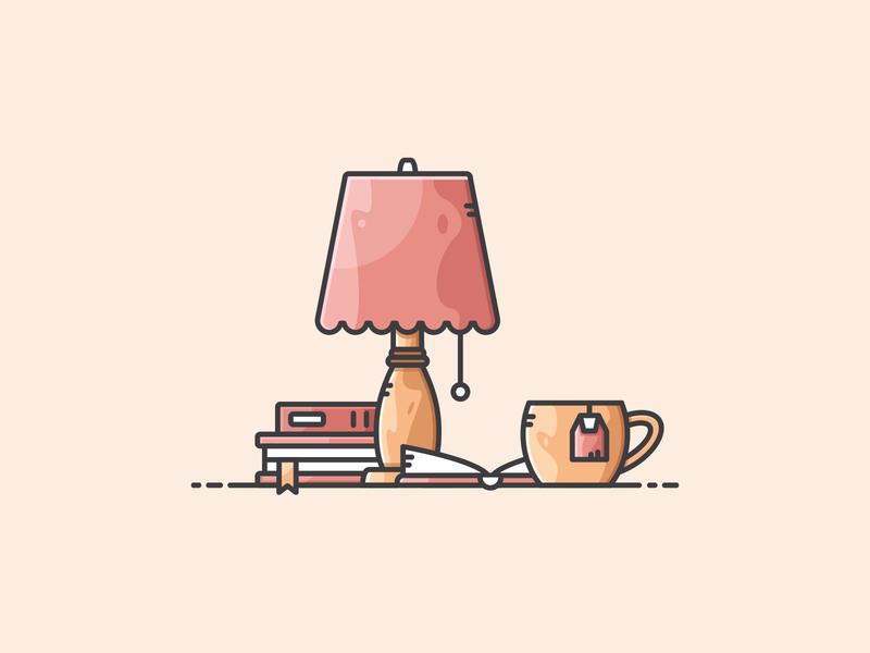 Reading Scene lamp tea reading book reading design vectorart illustration icon vector
