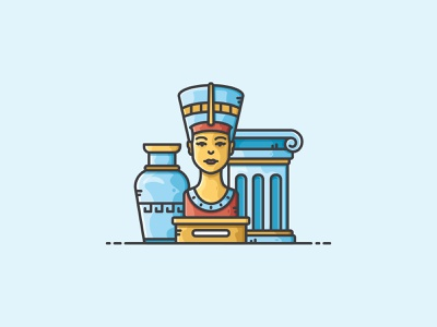 Museum Scene ancient nofretete museum design vectorart illustration icon vector