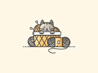 Knitting Scene knit cozy knitting wool cat design vectorart illustration icon vector