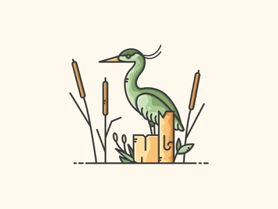 River Scene bird reed heron nature design vectorart illustration icon vector