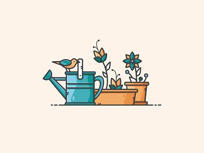 Garden Scene bird summer spring balkony watering can plant flower garden nature design vectorart illustration icon vector