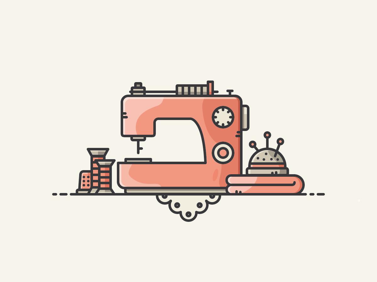 Sewing Scene vector sewingmachine vectorart icon illustration