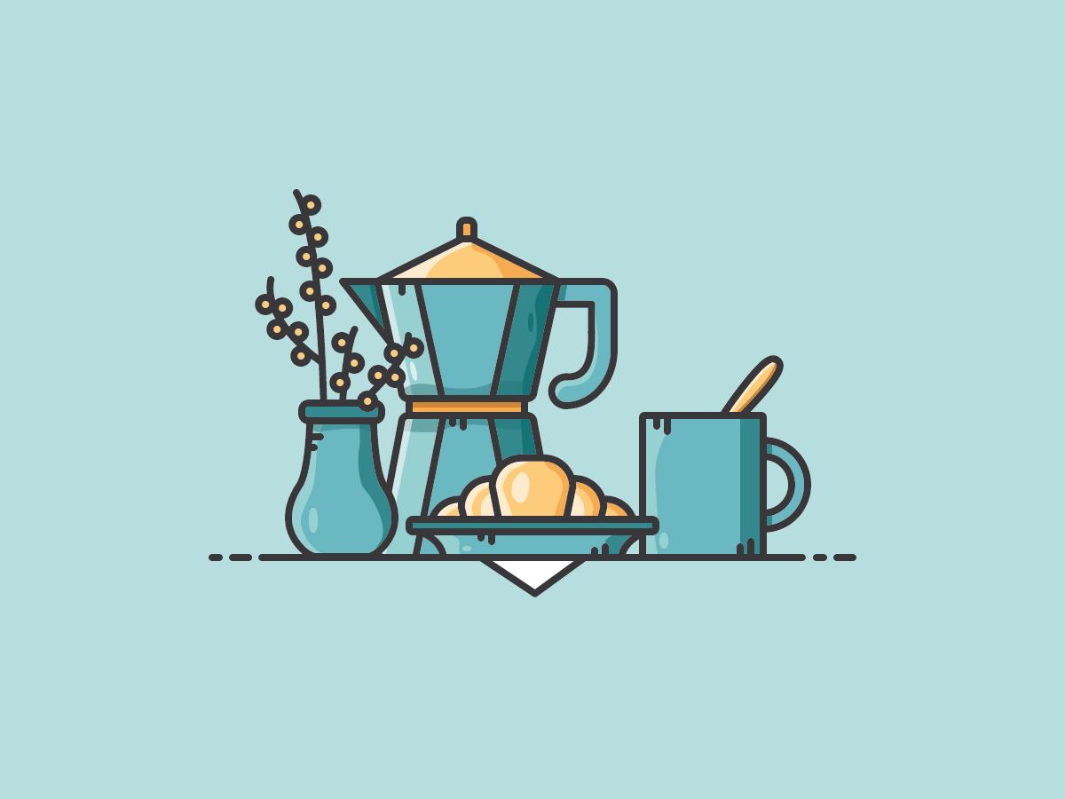 Breakfast Scene breakfast croissant coffee vector vectorart icon illustration