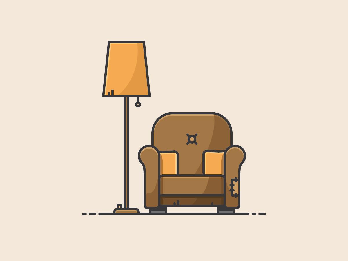 Cosy Scene livingroom lamp armchair vectorart vector illustration icon
