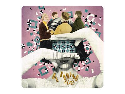 Archetype 6/12: De koning(in) vintagecollage vintage surrealism illustration design collage cards cardgame art