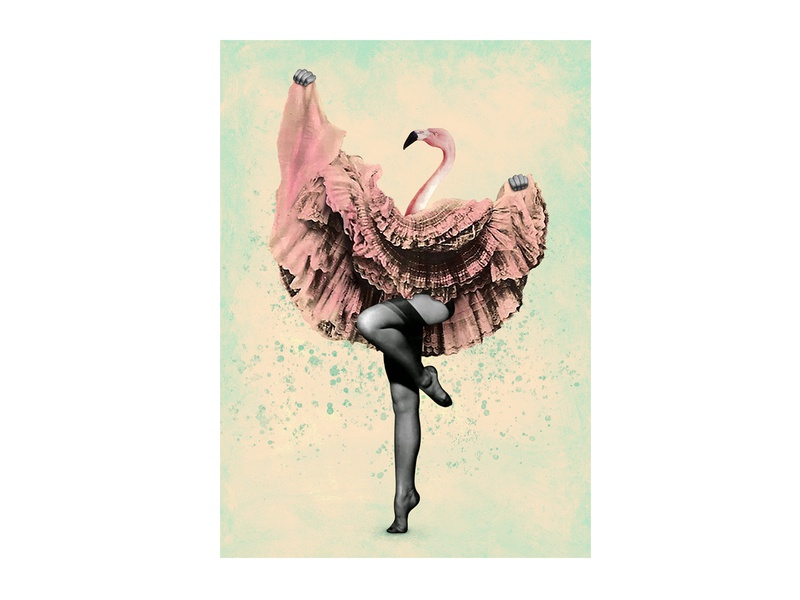 Flamingo collage dance surrealism art illustration flamingo collage