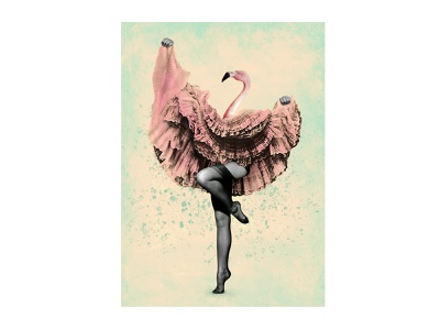 Flamingo collage dance surrealism art illustration flamingo collage