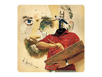 Archetype 3/12: De kunstenaar vintagecollage vintage illustration design cardgame cards surrealism collage art artist