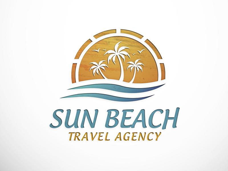 Sun Beach Logo beach ocean resort spa hotel logotype palm tree sun travel booking sea for sale
